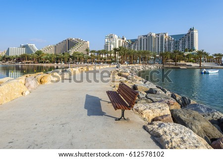 EILAT, ISRAEL - MARCH 02, 2017: View on central public beach of Eilat - famous resort city in Israel