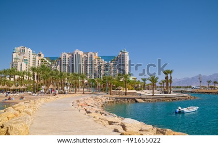 EILAT, ISRAEL - SEPTEMBER 24, 2016: Frontal view of Herods Palace Hotel, located at resort town of Eilat at coast of Red Sea.