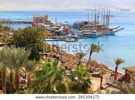 Eilat resort Red sea beach. (Eilat. Israel) - stock photo
