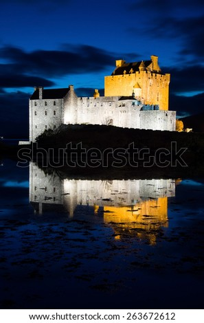 Eilean Donan Castle, a castle, near to Dornie at the Scottish Highlands. - stock photo