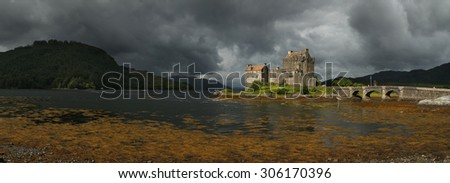 Eilean Donan castle before a storm in Scotland, UK. - stock photo