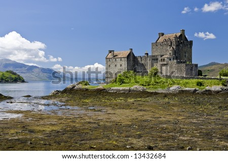 Eilean Donan Castle in Dornie near Kyle of Lochalsh in Scotland - stock photo