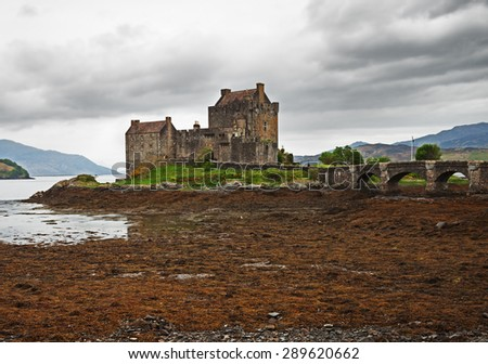 Eilean Donan castle on a cloudy day,Highlands, Scotland, UK - stock photo