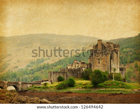 Eilean Donan castle on a cloudy day. low tide. Scotland, UK. Photo in retro style. Paper texture. - stock photo