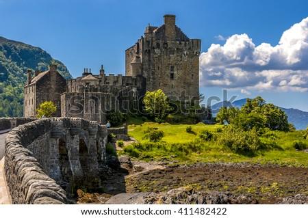 Eilean Donan Castle on lake Loch Duich, Scotland - stock photo