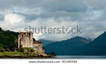 Eilean Donan castle, very popular landmark in Scotland - stock photo
