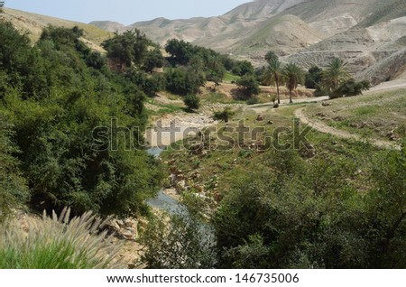 Ein Prat Nature Reserve is a charming oasis - stock photo