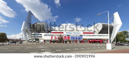 EINDHOVEN, NETHERLANDS - AUGUST 26, 2015: Exterior of the Philips football stadium, home to PSV football club, founded on August 31, 1913. PSV became 22 times dutch champion. - stock photo