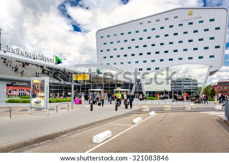 Eindhoven, Netherlands- May 26, 2015: Crowd of people at Eindhoven airport. Netherlands - stock photo