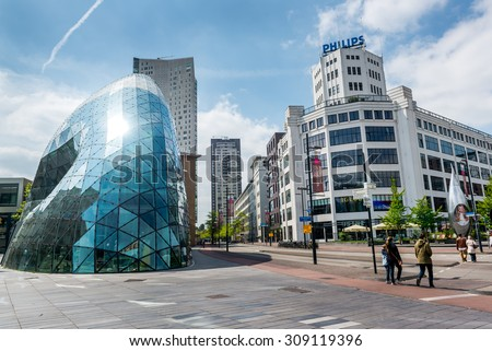 Eindhoven, Netherlands - May 24, 2015: Day view of the old Philips factory building and modern futuristic building in the city centre of Eindhoven. Western Europe
