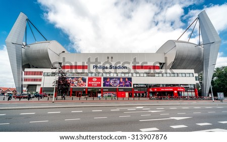 Eindhoven, Netherlands- May 24, 2015:Exterior of Philips Stadium, it is a football stadium,  the third-largest football stadium in the country. The official opening took place on August 31, 1913.  - stock photo