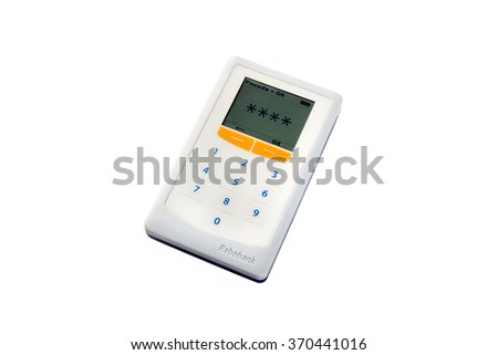 Eindhoven, The Netherlands - November 20, 2015: Rabobank security card scanner and reader isolated on a white background.