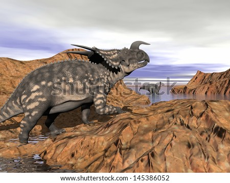 Einiosaurus dinosaur on a rock looking at an argentinosaurus dinosaur having a bath by cloudy day - stock photo