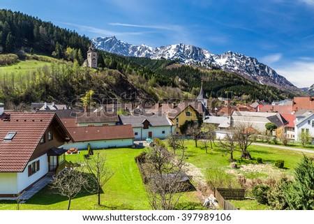 Eisenerz Village And Alps Mountain Range In The Background - Eisenerz, Styria, Austria, Europe  - stock photo