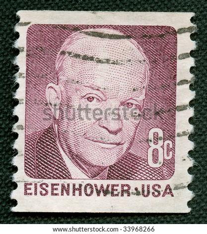 Eisenhower on US vintage postmark - stock photo