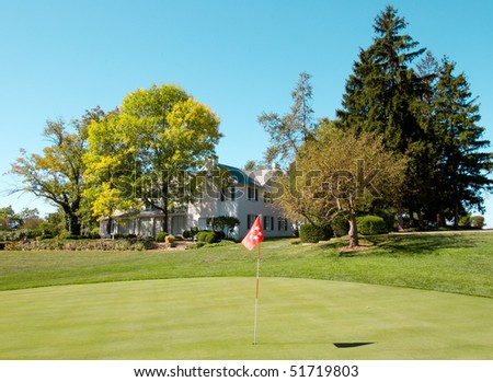 Eisenhower putting green and house - stock photo