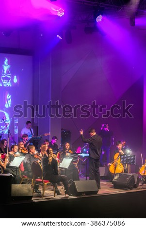 "Ekaterinburg, Russia - February 26, 2016: Performance of the musical group ""Other band"", held at the Principal Theatre of the city"