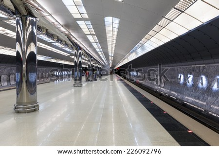 "EKATERINBURG, RUSSIA - MAY 19, 2014: Interior metro station ""Chkalov"". The station opened on July 28, 1992"