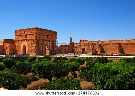 El Badi Palace gardens, Marrakech, Morocco - April 13, 2015: Ruined palace located in Marrakesh, Morocco. Commissioned by the Saadian sultan Ahmad al-Mansur - stock photo