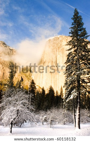 El Capitan during winter in Yosemite valley in California - stock photo