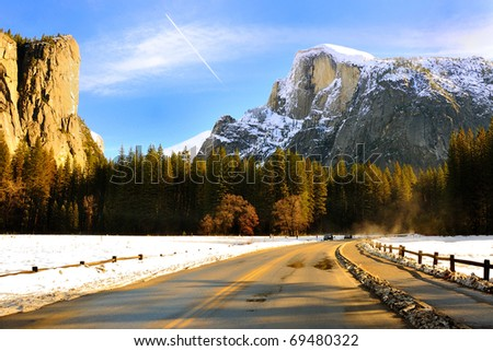 El Capitan & Half Dome Yosemite National Park, California - stock photo