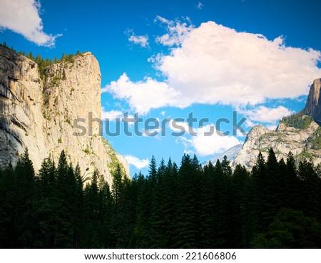 El Capitan Peak in Yosemite Valley, Yosemite National Park California USA - stock photo