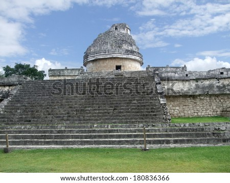El Caracol observatory templein Chichen the Itza archaeological site in Yucatan, Mexico - stock photo