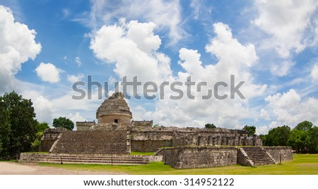 El Caracol The observatory Pre Columbian Mayan structure at Chichen Itza Mexico