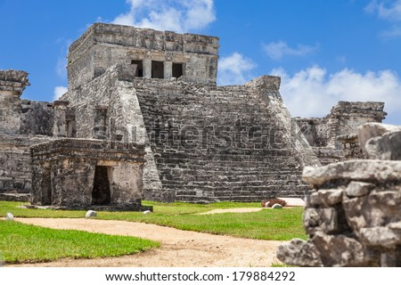 El Castillo of Tulum, archeological site in the Riviera Maya, Mexico.  Site of a Pre-Columbian Maya walled city serving as a major port for Cob�¡ - stock photo