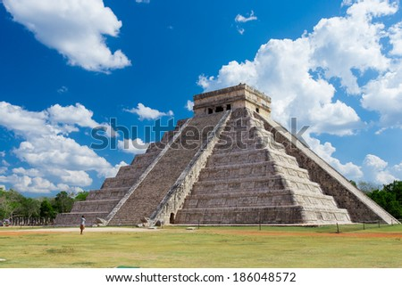 El Castillo (Pyramid of Kukulcan) in Chichen Itza, Quintana Roo, Mexico.  - stock photo