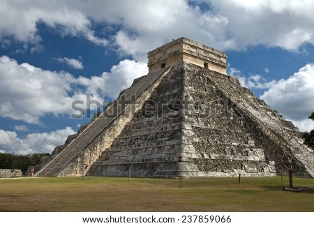 El Castillo, temple of Kukulkan, showing the stairway of the serpent at Chichen Itza, Yucatan, Mexico - stock photo