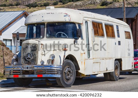 EL CHALTEN, ARGENTINA - FEBRUARY 10, 2016: Old car Mercedes body rusting on the street in El Chalten, Patagonia, Argentina - stock photo