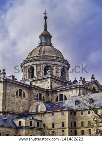 El Escorial, November 2012. Royal Seat and Monastery of San Lorenzo de El Escorial, residence of some kings of Spain and Spanish Royal Site. Architect Juan Bautista de Toledo in 1563 - 1584 - stock photo