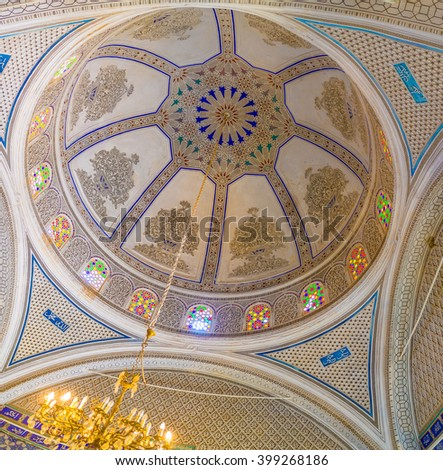 EL KEF, TUNISIA - SEPTEMBER 5, 2015: The cupola of the old mosque, serving as Ethnographic museum, decorated with islamic patterns of carved plaster, on September 5 in El Kef.