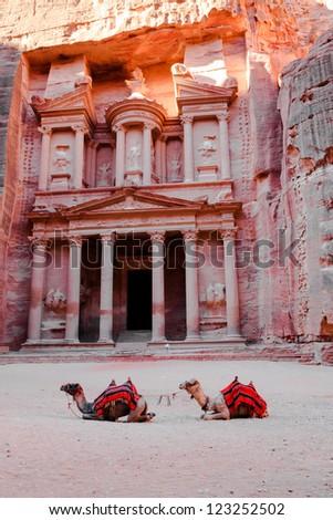 el khazneh in petra, jordan - stock photo