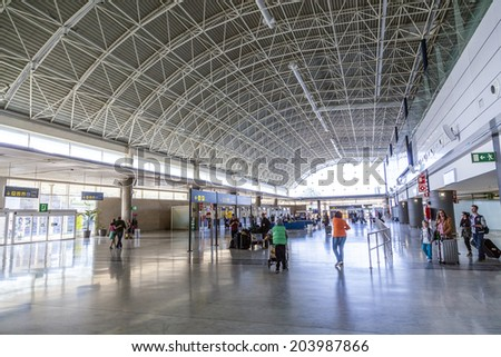 EL MATORRAL, SPAIN - MARCH 28, 2013: arrival hall at  Airport of Fuenteventurain El Matorral, Spain. The airport was opened on Sep 1969 and has the capability to handle 5 Mio passengers per year. - stock photo