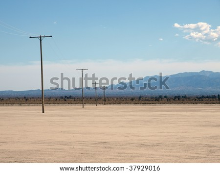 El Mirage Dry Lake in California's Mojave Desert. - stock photo