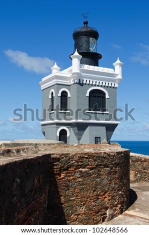 El Morro Lighthouse (El faro del Morro) in Old San Juan, Puerto Rico - stock photo