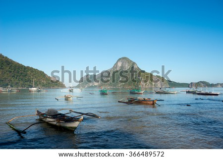 El Nido Bay and Cadlao Island, El Nido, Philippines - stock photo