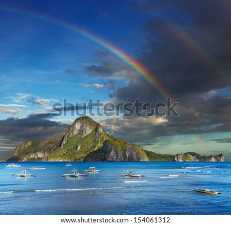 El Nido bay and Cadlao island, Palawan, Philippines - stock photo