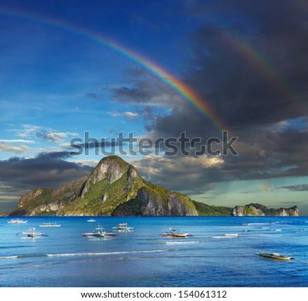 El Nido bay and Cadlao island, Palawan, Philippines - stock photo