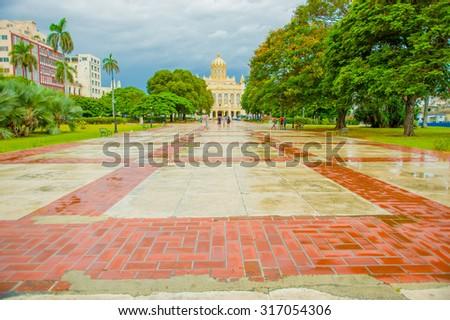 El Paseo del Prado, a famous street in old town Havana - stock photo