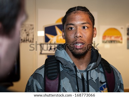 EL PASO, TEXAS � DECEMBER 26.   Virginia Tech Cornerback Kyle Fuller is interviewed at the El Paso Airport prior to playing in the December 31 Sun Bowl game on December 26, 2013 in El Paso, Texas.