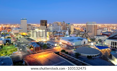 El Paso Texas Skyline at Night. Downtown El Paso Texas skyline seen just after sunset. 16 x 9 aspect ratio. Space for copy.