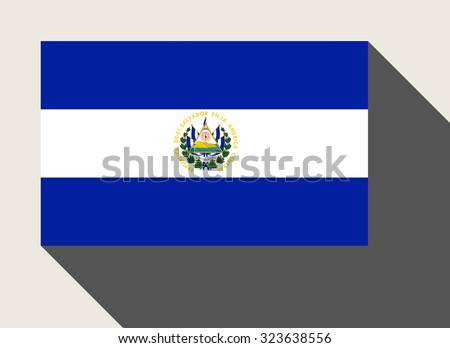 El Salvador flag in flat web design style. - stock photo