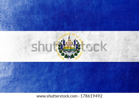 El Salvador Flag painted on leather texture - stock photo