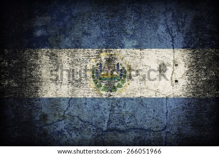 El Salvador flag pattern on dirty old concrete wall texture ,retro vintage style - stock photo