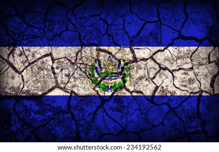 El Salvador flag pattern on the crack soil texture ,retro vintage style - stock photo