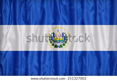 El Salvador flag pattern on the fabric texture ,vintage style - stock photo