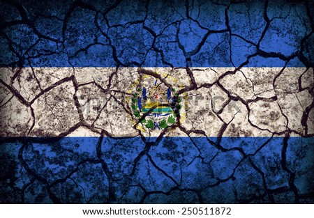 El Salvador pattern on the crack soil texture ,retro vintage style - stock photo